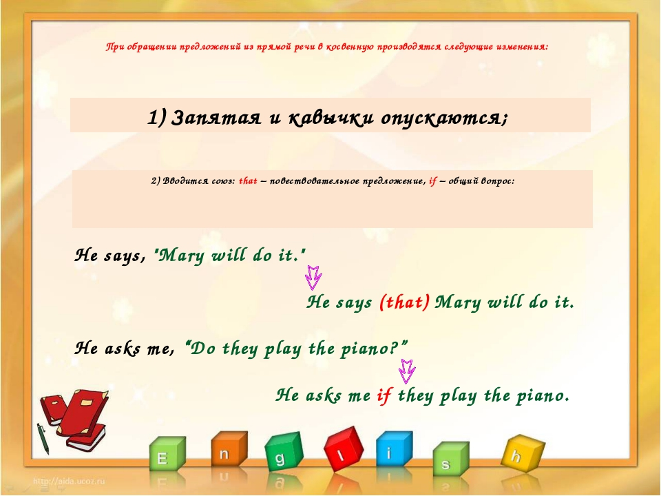 "He says, ""Mary will do it."" He says (that) Mary will do it. 1) Запятая и кавы..."