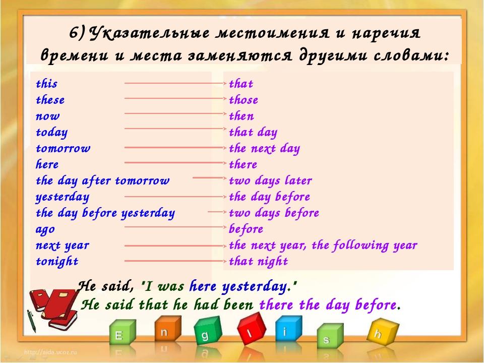 6) Указательные местоимения и наречия времени и места заменяются другими слов...