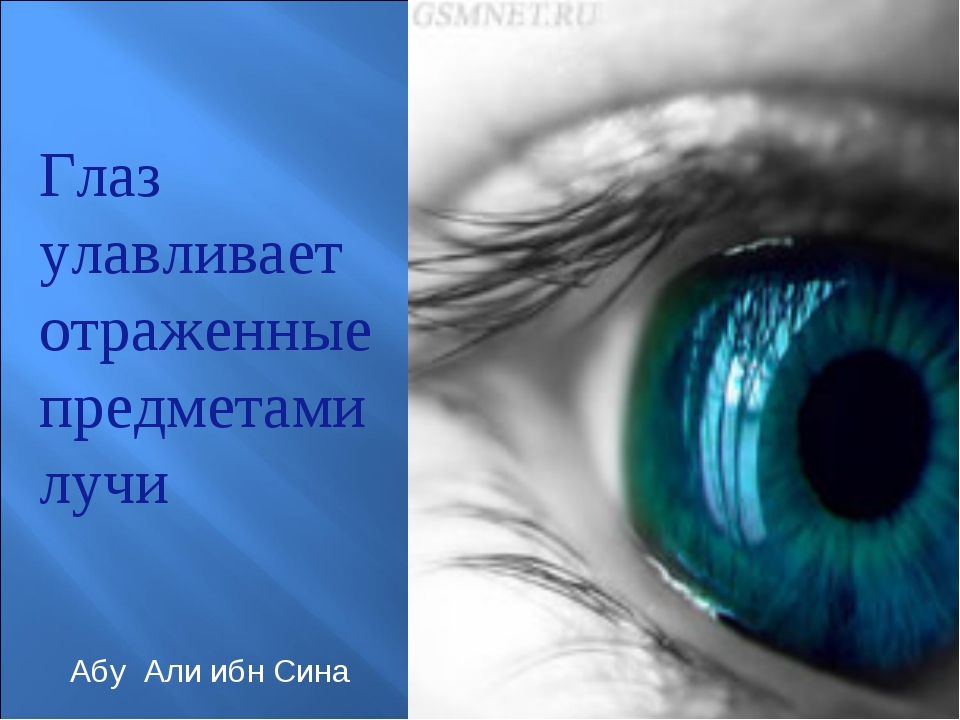 Глаз улавливает отраженные предметами лучи Абу Али ибн Сина