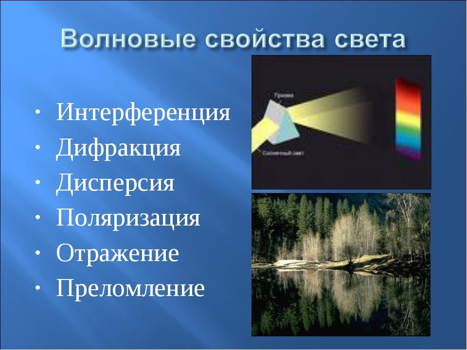 Интерференция Дифракция Дисперсия Поляризация Отражение Преломление