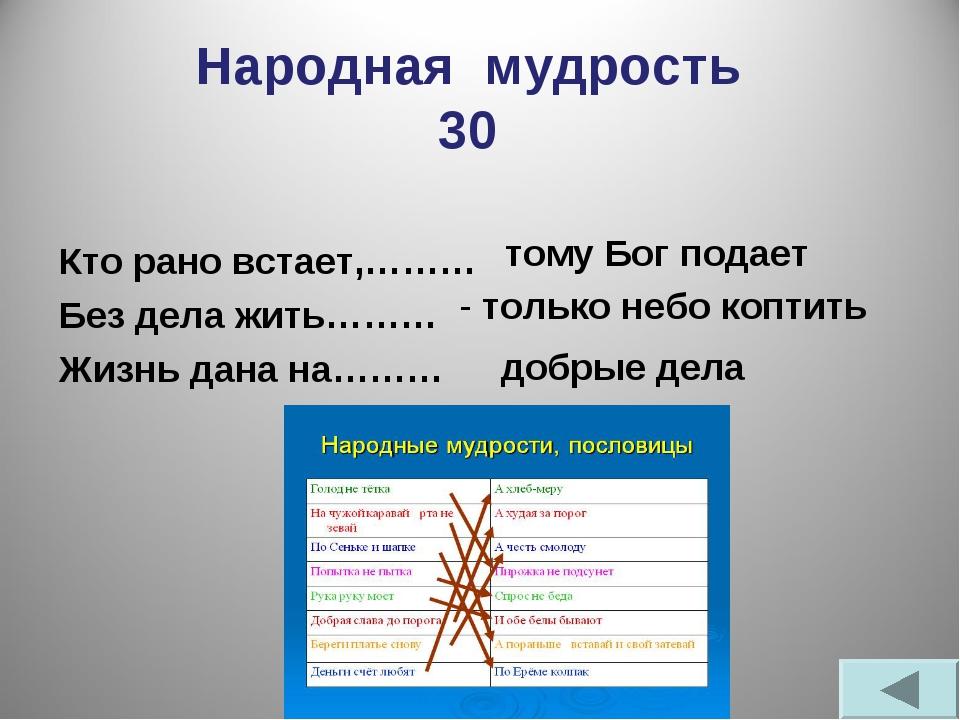 Народная мудрость 30 Кто рано встает,……… Без дела жить……… Жизнь дана на……… то...