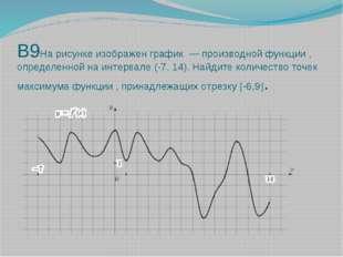 В9На рисунке изображен график — производной функции , определенной на интерв