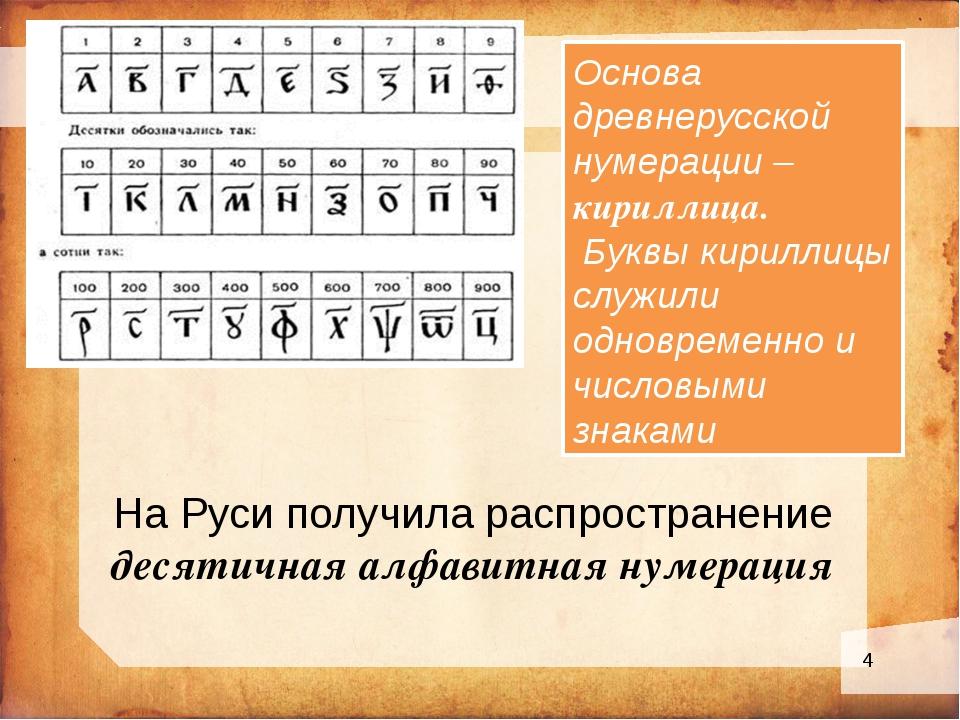 На Руси получила распространение десятичная алфавитная нумерация Основа древ...