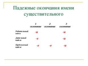Падежные окончания имени существительного  1 склонение 2 склонение  3 скло
