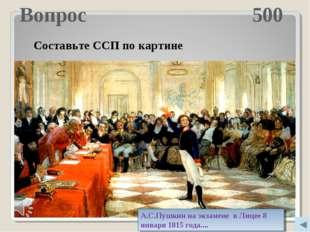 Вопрос 500 Молодцы! Составьте ССП по картине А.С.Пушкин на экзамене в Лицее 8