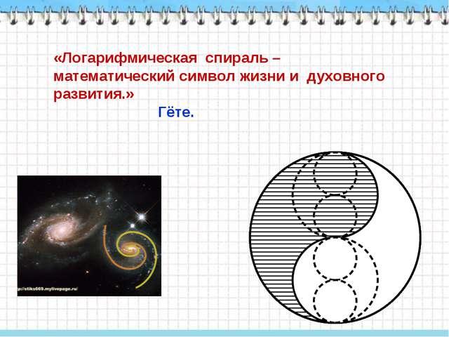 «Логарифмическая спираль – математический символ жизни и духовного развития.»...