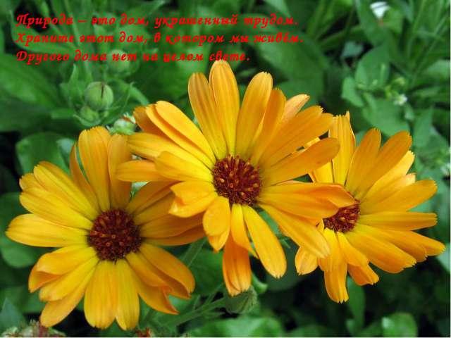 Природа – это дом, украшенный трудом. Храните этот дом, в котором мы живём. Д...