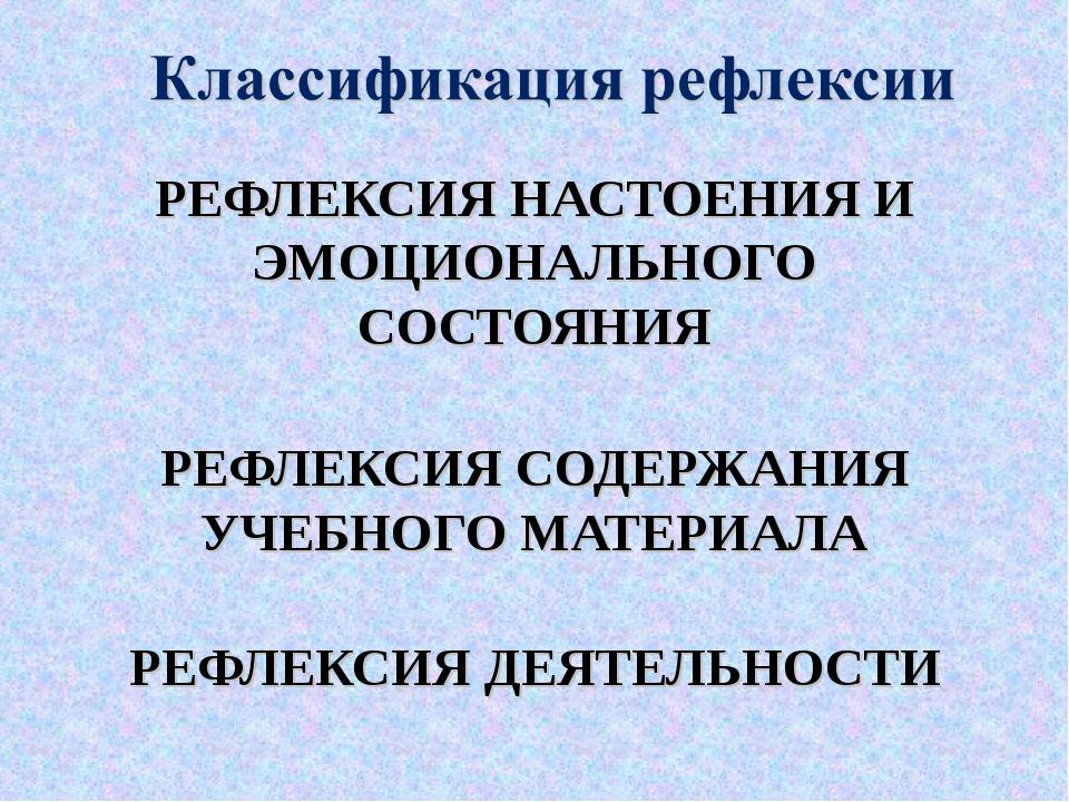 РЕФЛЕКСИЯ НАСТОЕНИЯ И ЭМОЦИОНАЛЬНОГО СОСТОЯНИЯ РЕФЛЕКСИЯ СОДЕРЖАНИЯ УЧЕБНОГО...