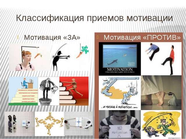 Классификация приемов мотивации Мотивация «ЗА» Мотивация «ПРОТИВ»