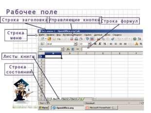 Рабочее поле Строка заголовка Строка меню Управляющие кнопки Листы книги Стро