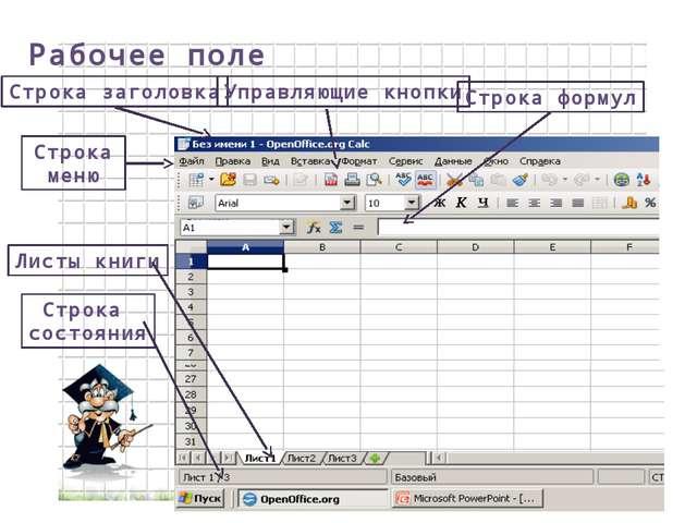 Рабочее поле Строка заголовка Строка меню Управляющие кнопки Листы книги Стро...