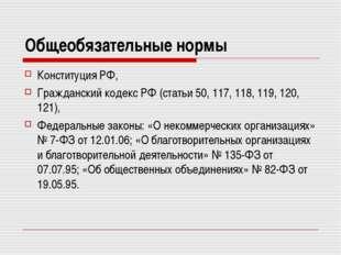 Общеобязательные нормы Конституция РФ, Гражданский кодекс РФ (статьи 50, 117,