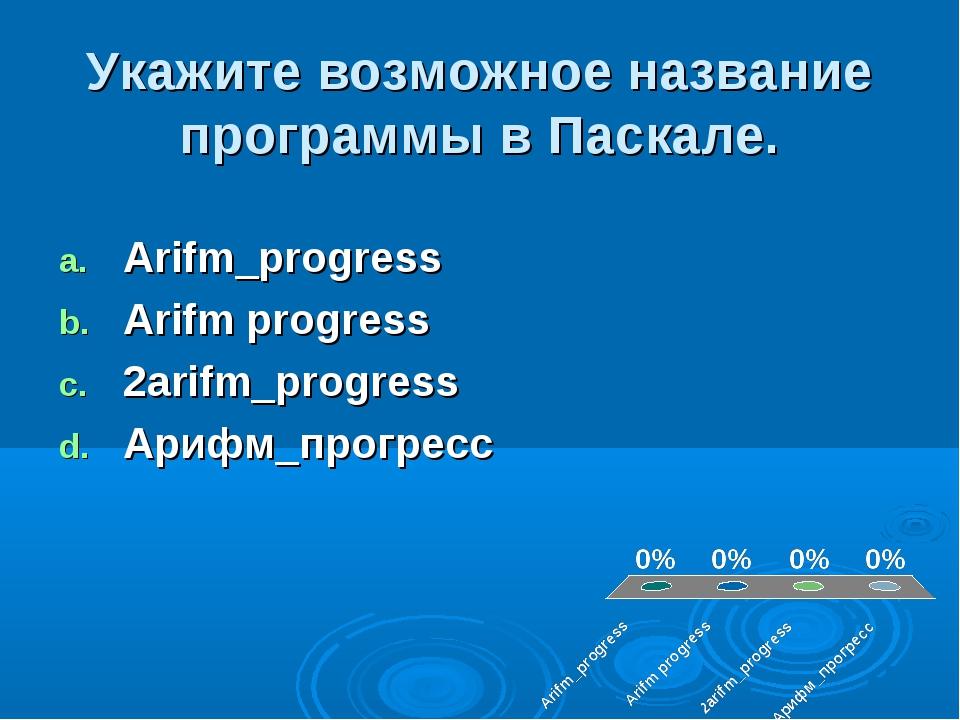 Укажите возможное название программы в Паскале. Arifm_progress Arifm progress...
