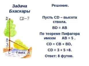 Задача Бхаскары Решение.  Пусть CD – высота ствола. BD = АВ По теореме Пифаг