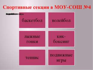 Спортивные секции в МОУ-СОШ №4