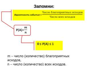 Запомни: m – число (количество) благоприятных исходов, n – число (количество)