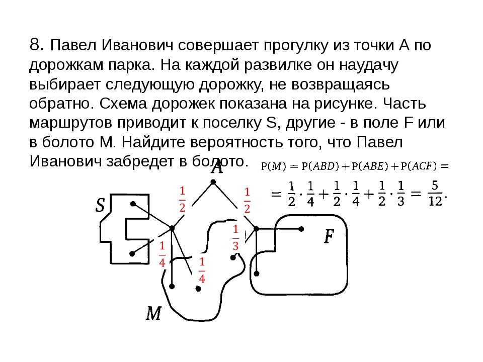 8. Павел Иванович совершает прогулку из точки А по дорожкам парка. На каждой...