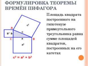 ФОРМУЛИРОВКА ТЕОРЕМЫ ВРЕМЁН ПИФАГОРА Площадь квадрата построенного на гипоте