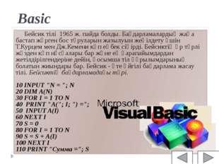 Basic Бейсик тілі 1965 ж. пайда болды. Бағдарламалардың жаңа бастап жүрген бо