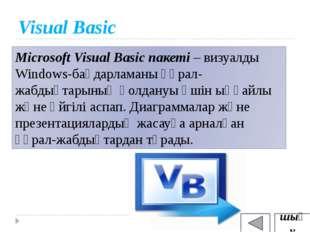 Visual Basic Microsoft Visual Basic пакеті – визуалды Windows-бағдарламаны құ