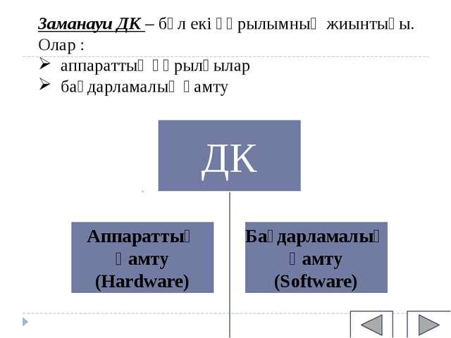 Заманауи ДК – бұл екі құрылымның жиынтығы. Олар : аппараттық құрылғылар бағда...