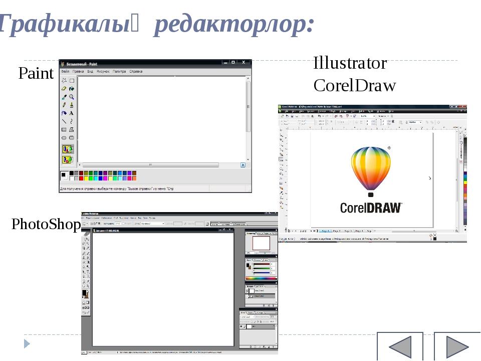 Графикалық редакторлор: Paint Illustrator CorelDraw PhotoShop