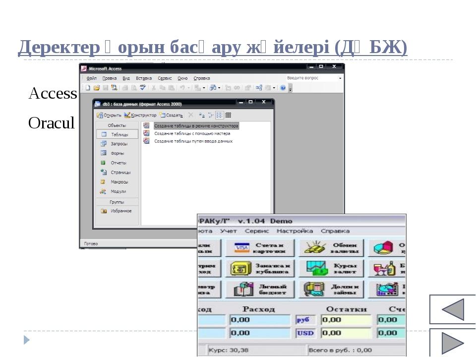 Деректер қорын басқару жүйелері (ДҚБЖ) Access Oracul