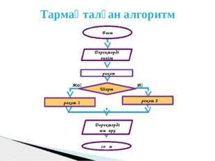 Тармақталған алгоритм Басы Шарт Деректерді енгізу Деректерді шығару Әрекет со