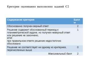 Критерии оценивания выполнения заданий С2 Содержание критерия Баллы Обоснован