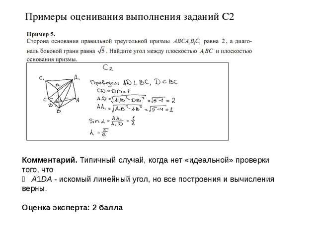 Примеры оценивания выполнения заданий С2 Комментарий. Типичный случай, когда...