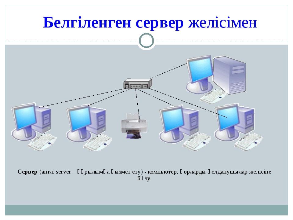 Белгіленген сервер желісімен Сервер (англ. server – құрылымға қызмет ету) - к...