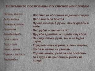 Вспомните пословицы по ключевым словам Яблоня- яблочко Дело- мастер Синица- ж