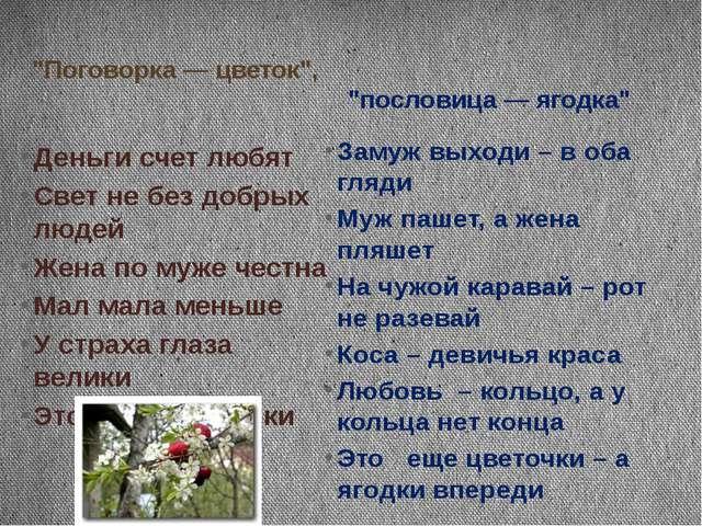 """""""Поговорка — цветок"""", """"пословица — ягодка"""" Деньги счет любят Свет не без добр..."""