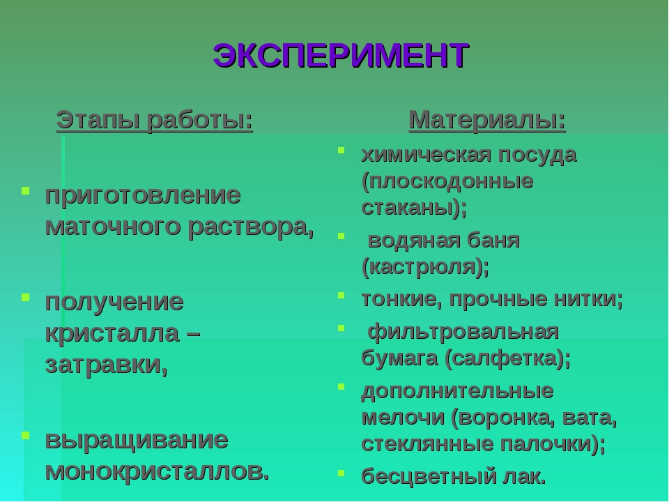ЭКСПЕРИМЕНТ Этапы работы: приготовление маточного раствора, получение кристал...