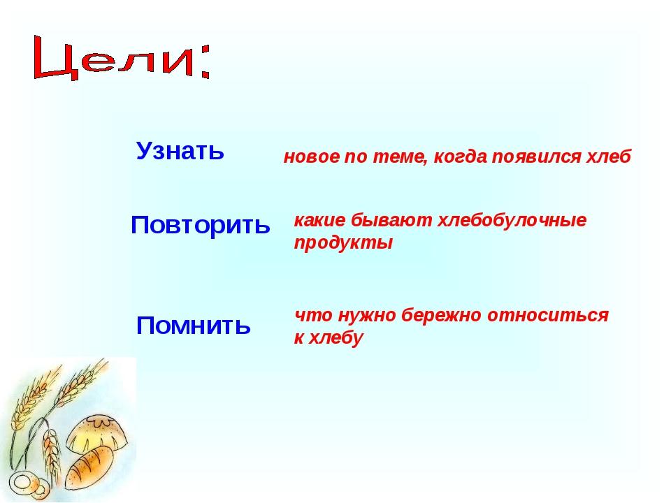 Узнать Повторить Помнить новое по теме, когда появился хлеб какие бывают хлеб...