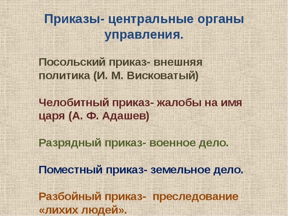 Приказы- центральные органы управления. Посольский приказ- внешняя политика (...
