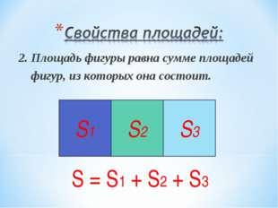 2. Площадь фигуры равна сумме площадей фигур, из которых она состоит. S = S1