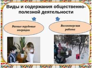 Виды и содержания общественно- полезной деятельности Волонтерская работа Разн