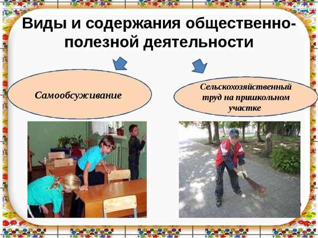 Виды и содержания общественно- полезной деятельности Самообсуживание Сельскох...