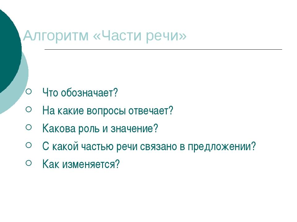 Алгоритм «Части речи» Что обозначает? На какие вопросы отвечает? Какова роль...