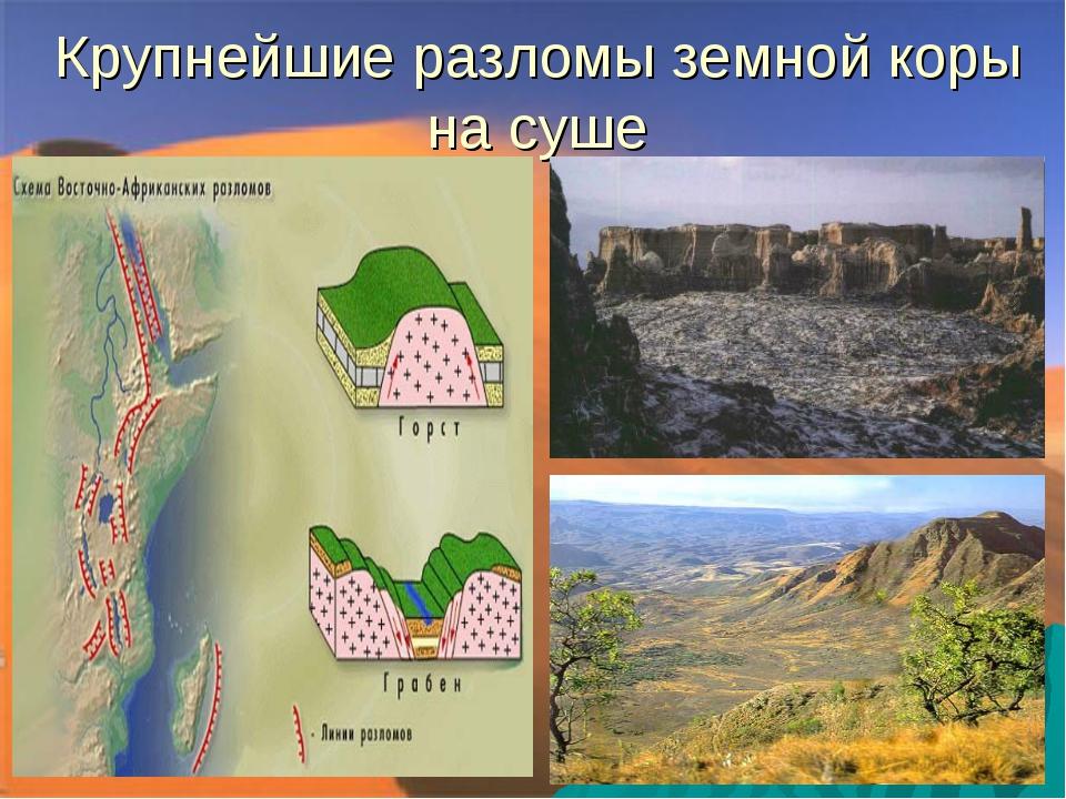 Крупнейшие разломы земной коры на суше