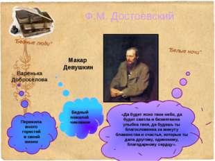 """Ф.М. Достоевский """"Бедные люди"""" """"Белые ночи"""" «Да будет ясно твое небо, да буде"""