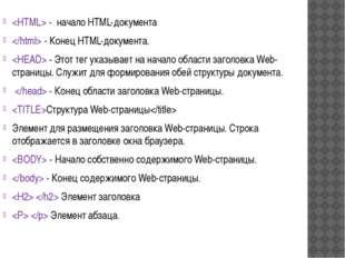 - начало HTML-документа  - Конец HTML-документа.  - Этот тег указывает на на