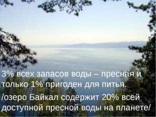 3% всех запасов воды – пресная и только 1% пригоден для питья. /озеро Байкал