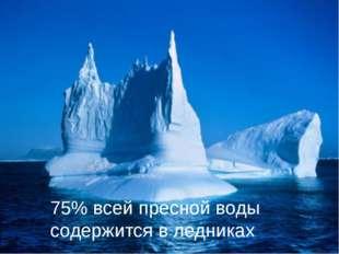 75% всей пресной воды содержится в ледниках