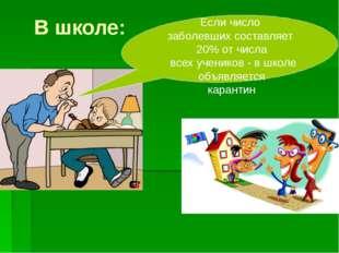 В школе: Если число заболевших составляет 20% от числа всех учеников - в школ