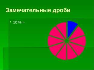 Замечательные дроби 10 % =