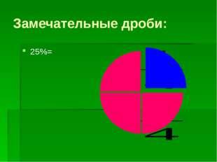 Замечательные дроби: 25%=