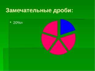"""Замечательные дроби: 20%= """"Образовательный портал Мой университет-www.moi-uni"""