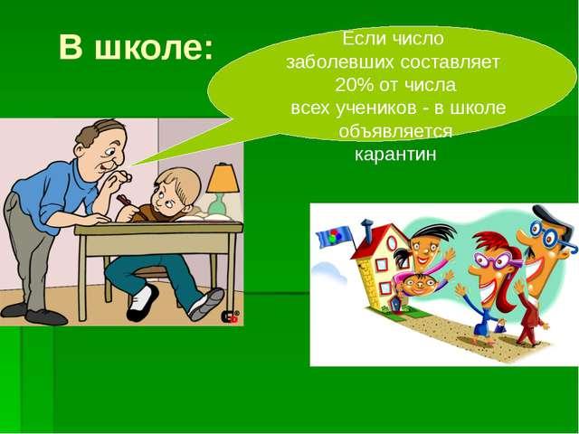 В школе: Если число заболевших составляет 20% от числа всех учеников - в школ...